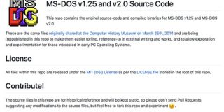 Microsoft、MS-DOS 1.25と2.0をGitHubに公開 : IT速報