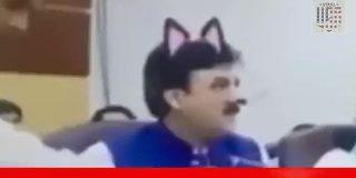 【猫耳大臣】パキスタンで会見の生中継を行っていた際に大臣が猫耳姿になってしまうハプニングが発生「あざとい…」「でもこれは世界平和になると思うよ」 - Togetter
