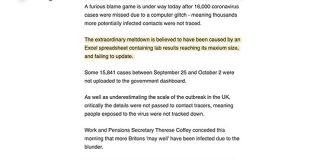 イギリスで新型コロナ症例記録がExcelの行数限界に気づかず1万6000件の集計漏れ→なお形式はXLSだったもよう - Togetter