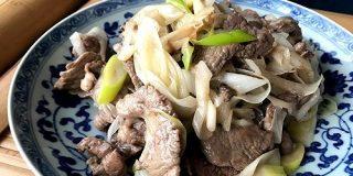 おうちで中華 - 葱爆羊肉(白葱と羊肉の炒めもの)|酒徒|note