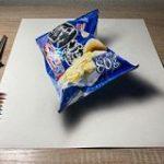 色鉛筆で堅あげポテトの絵を描きました!!→商品置いただけのネタツイートだと思ったら途中経過を見て震えた – Togetter