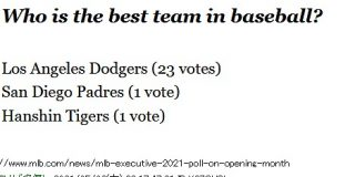 MLB最強チーム投票で「阪神タイガース」が1票獲得 : なんじぇいスタジアム